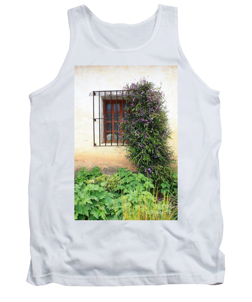 Mission Tank Top featuring the photograph Mission Window With Purple Flowers Vertical by Carol Groenen