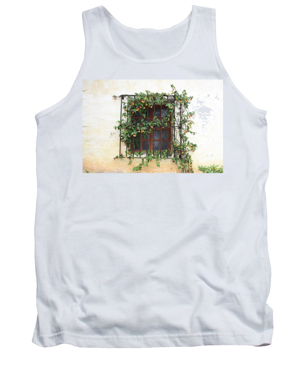Window Tank Top featuring the photograph Mission Window With Yellow Flowers by Carol Groenen