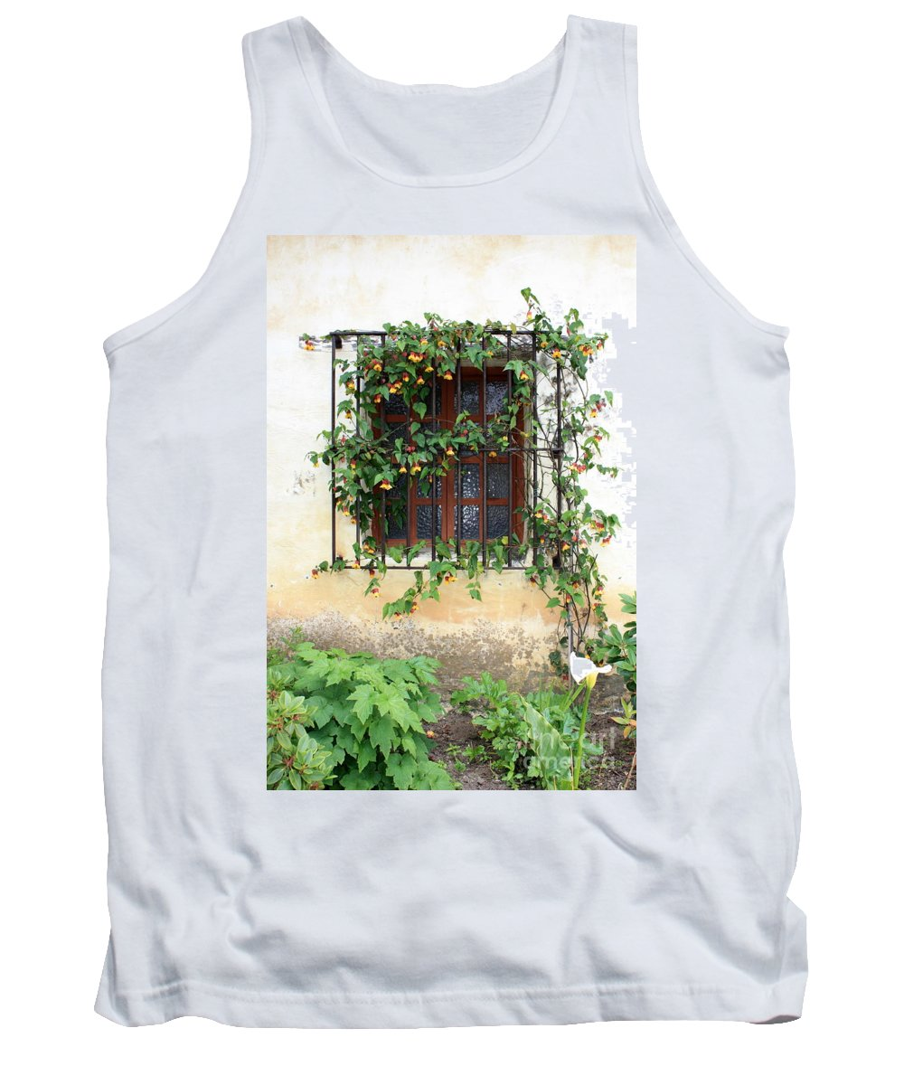 Mission Window Tank Top featuring the photograph Mission Window With Yellow Flowers Vertical by Carol Groenen