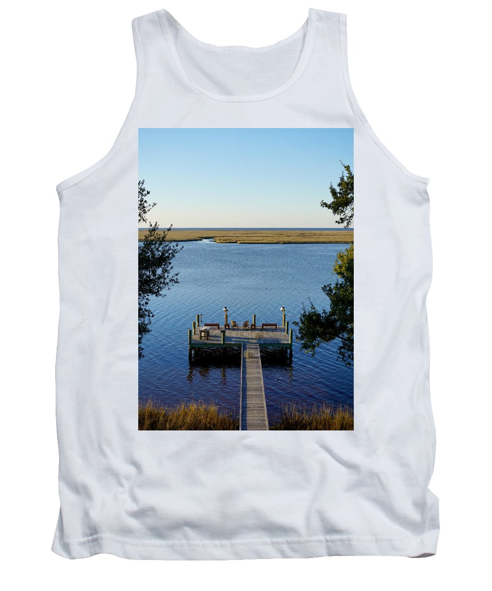 Mississippi Dock Coast Water Gulf Mexico Reflection Peaceful Tranquil Ocean Tank Top featuring the photograph Mississippi Paradise by Pete Mikelson