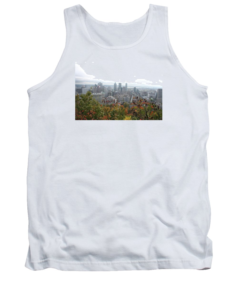 City View Tank Top featuring the photograph Mist Over Montreal by Christiane Schulze Art And Photography