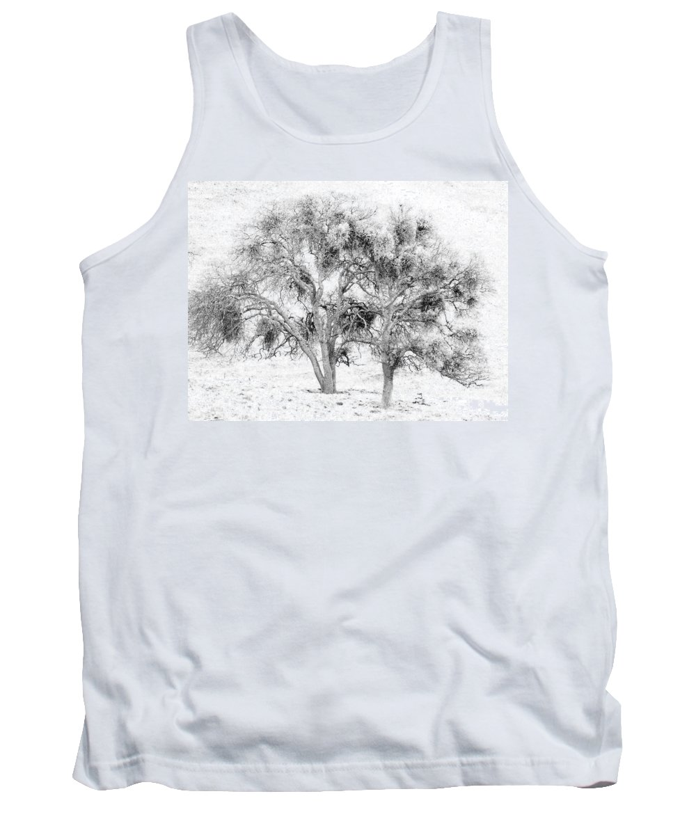 Trees Tank Top featuring the photograph Mistletoe Tree In Black And White by Karen W Meyer