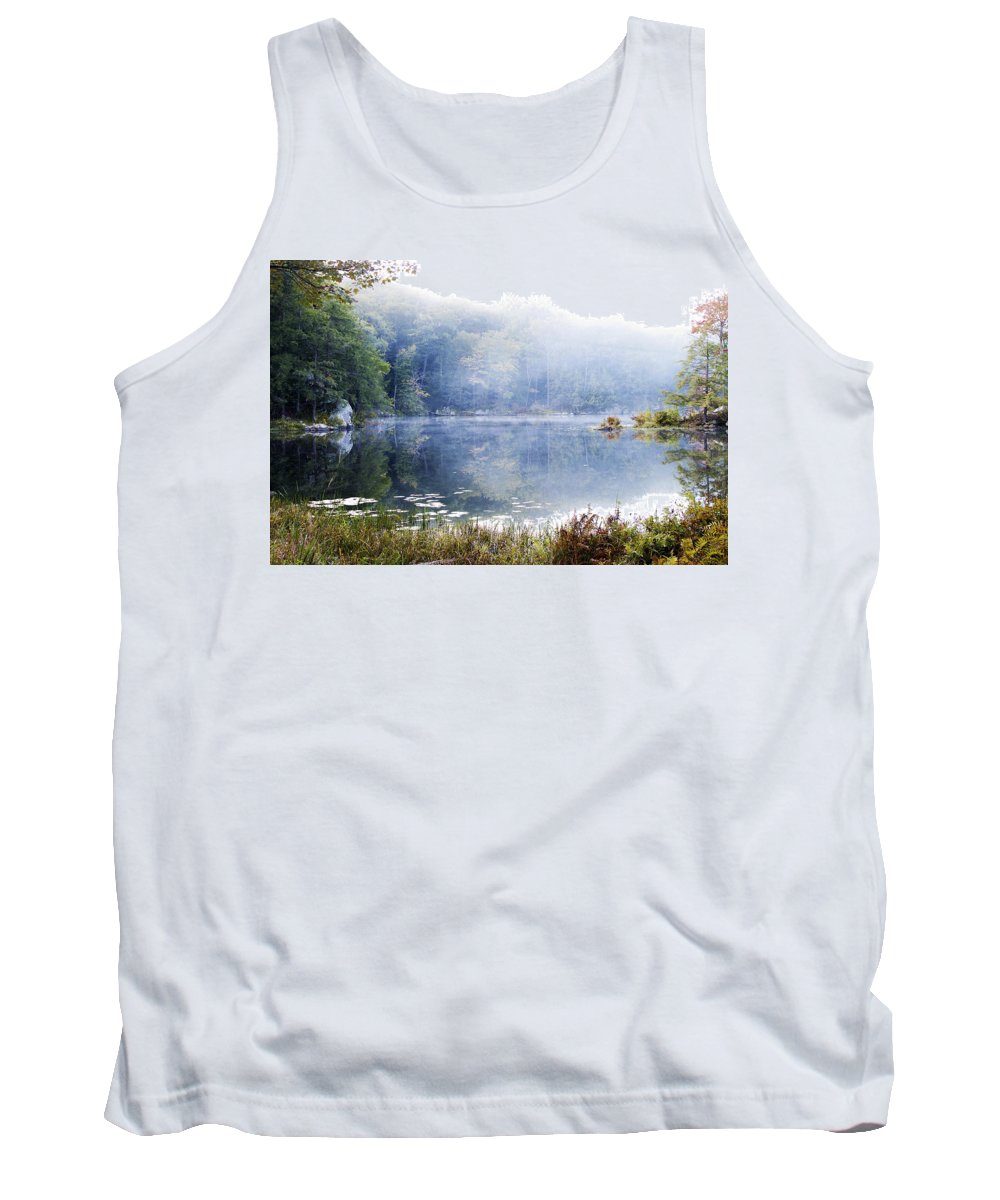 Fog Tank Top featuring the photograph Misty Morning At John Burroughs #1 by Jeff Severson