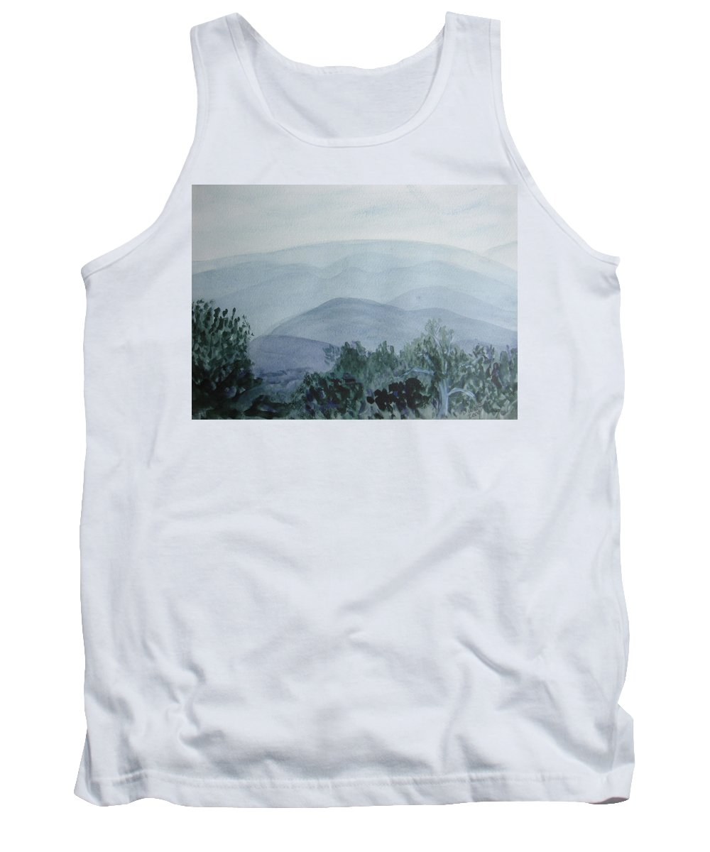 Misty Tank Top featuring the painting Misty Shenandoah by Donna Walsh