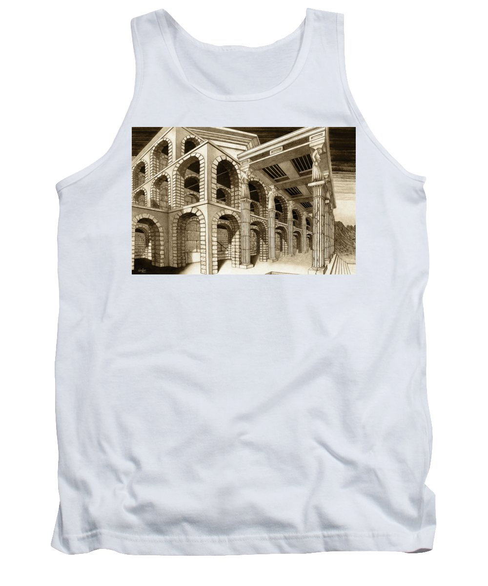 Mithlond Tank Top featuring the drawing Mithlond Gray Havens by Curtiss Shaffer