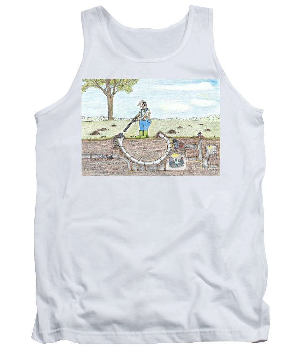 Mole Art Tank Top featuring the drawing Moles Revenge by Steve Royce Griffin
