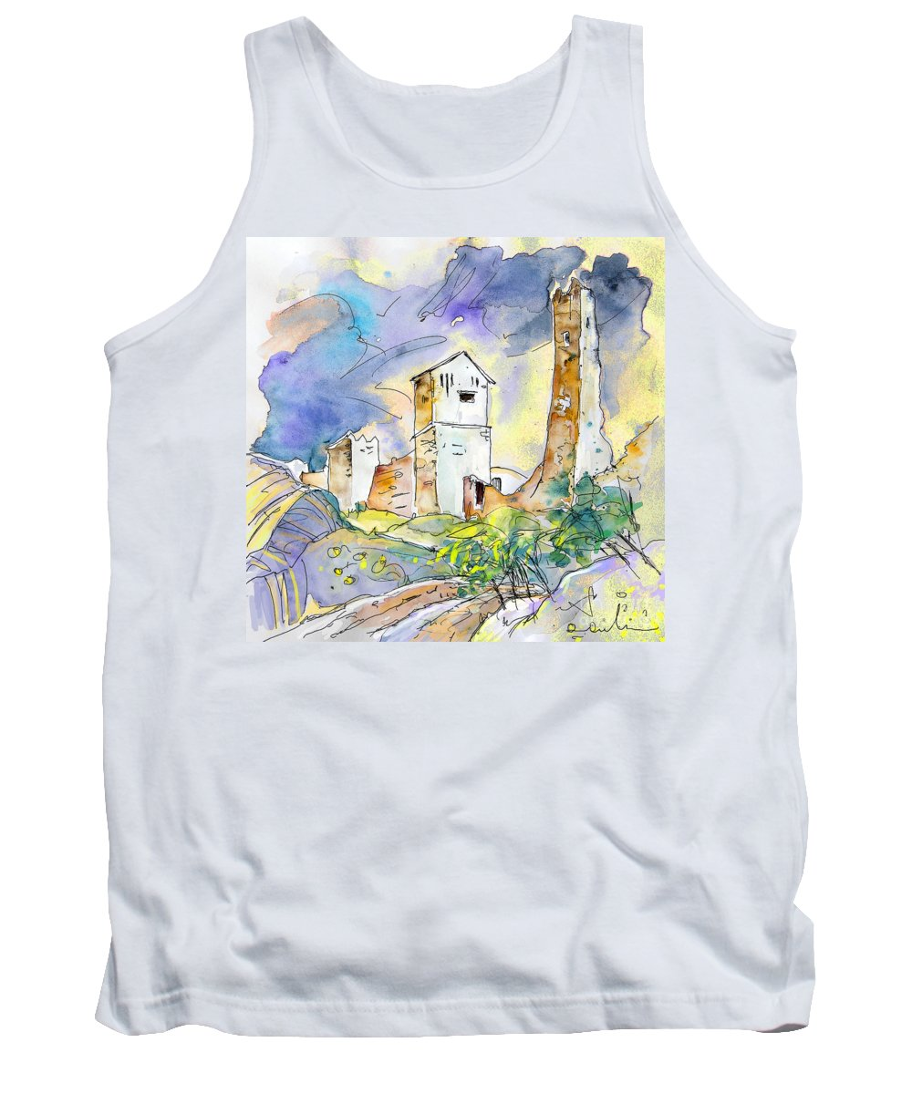 Travel Sketch Tank Top featuring the painting Molina De Aragon Spain 01 by Miki De Goodaboom