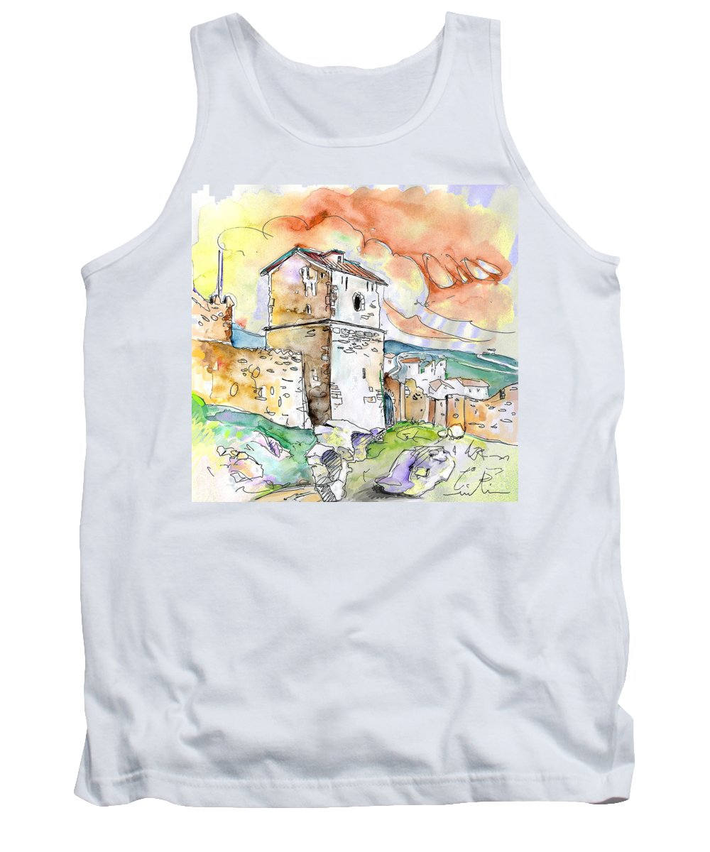 Travel Sketch Tank Top featuring the painting Molina De Aragon Spain 02 by Miki De Goodaboom