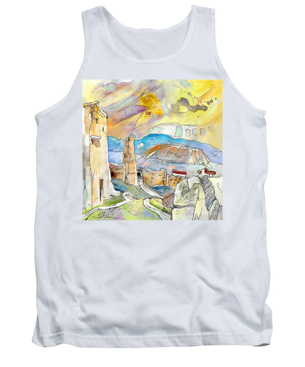 Travel Sketch Tank Top featuring the painting Molina De Aragon Spain 03 by Miki De Goodaboom