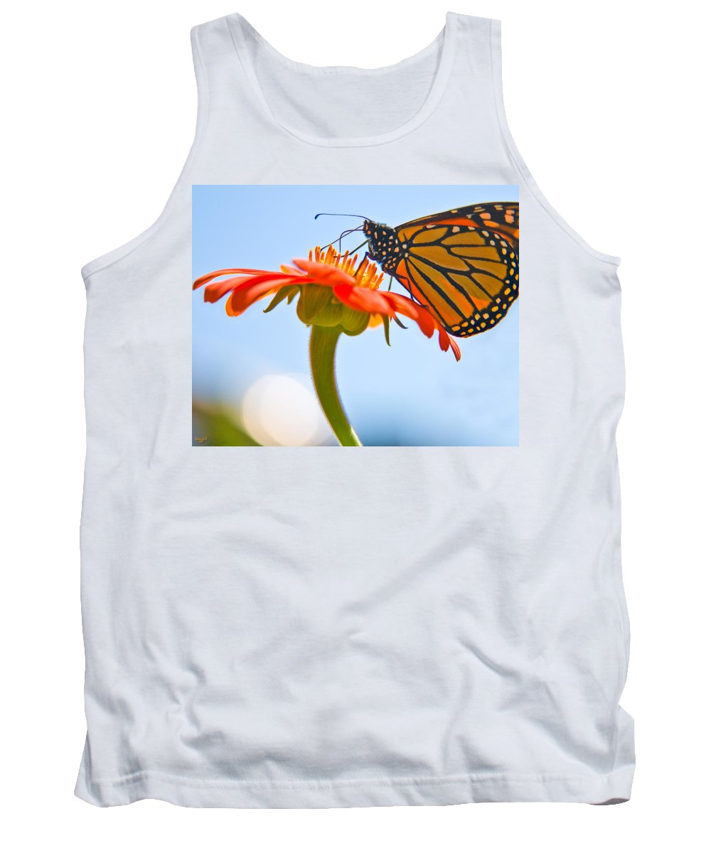 Butterfly Tank Top featuring the photograph Monarch Working by Chris Lord