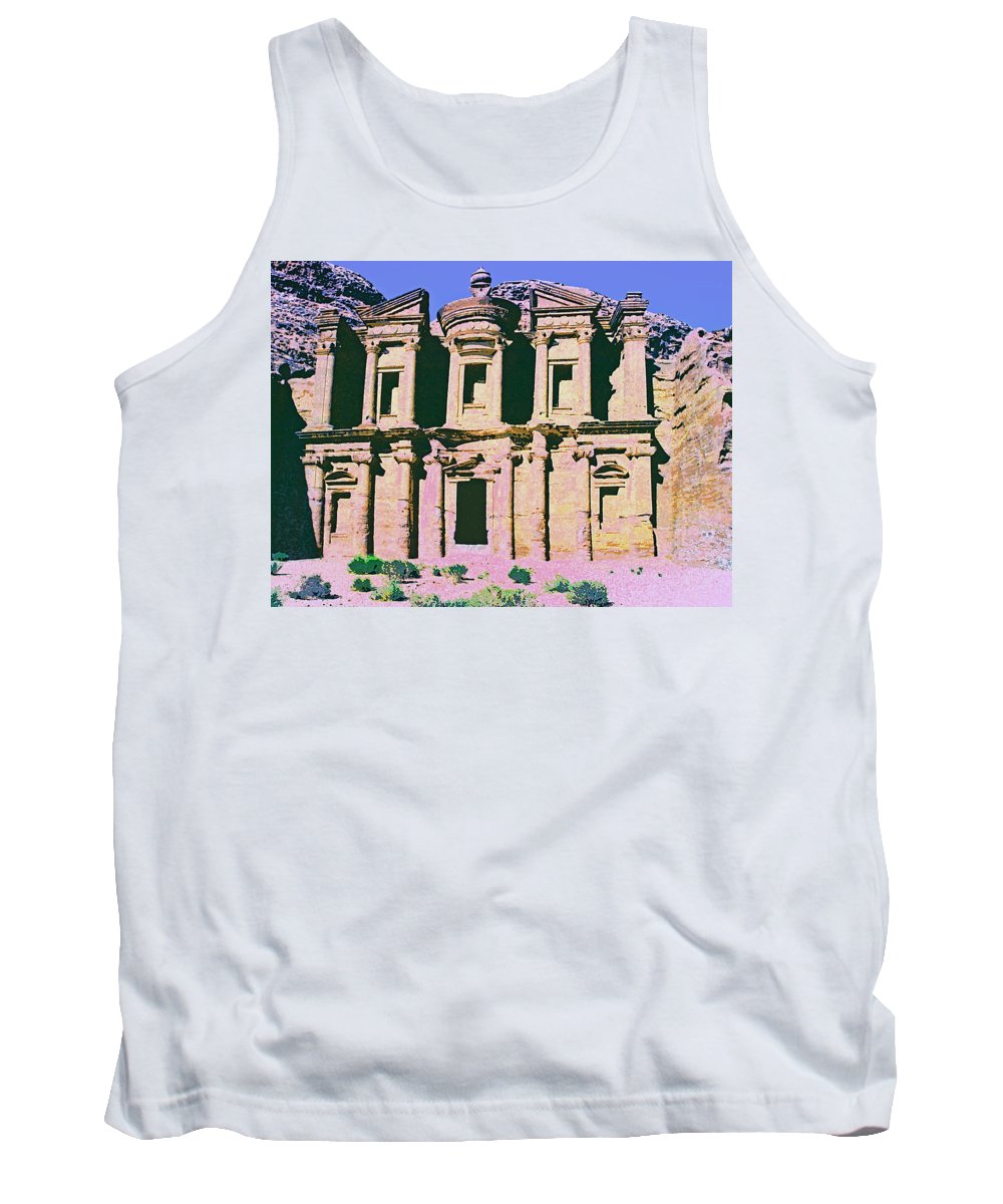 Monastery At Petra Tank Top featuring the mixed media Monastery At Petra by Dominic Piperata
