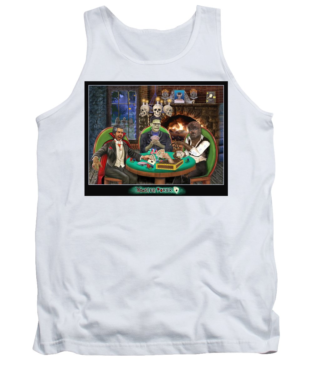 Halloween Art Greeting Cards Tank Top featuring the digital art Monster Poker by Glenn Holbrook