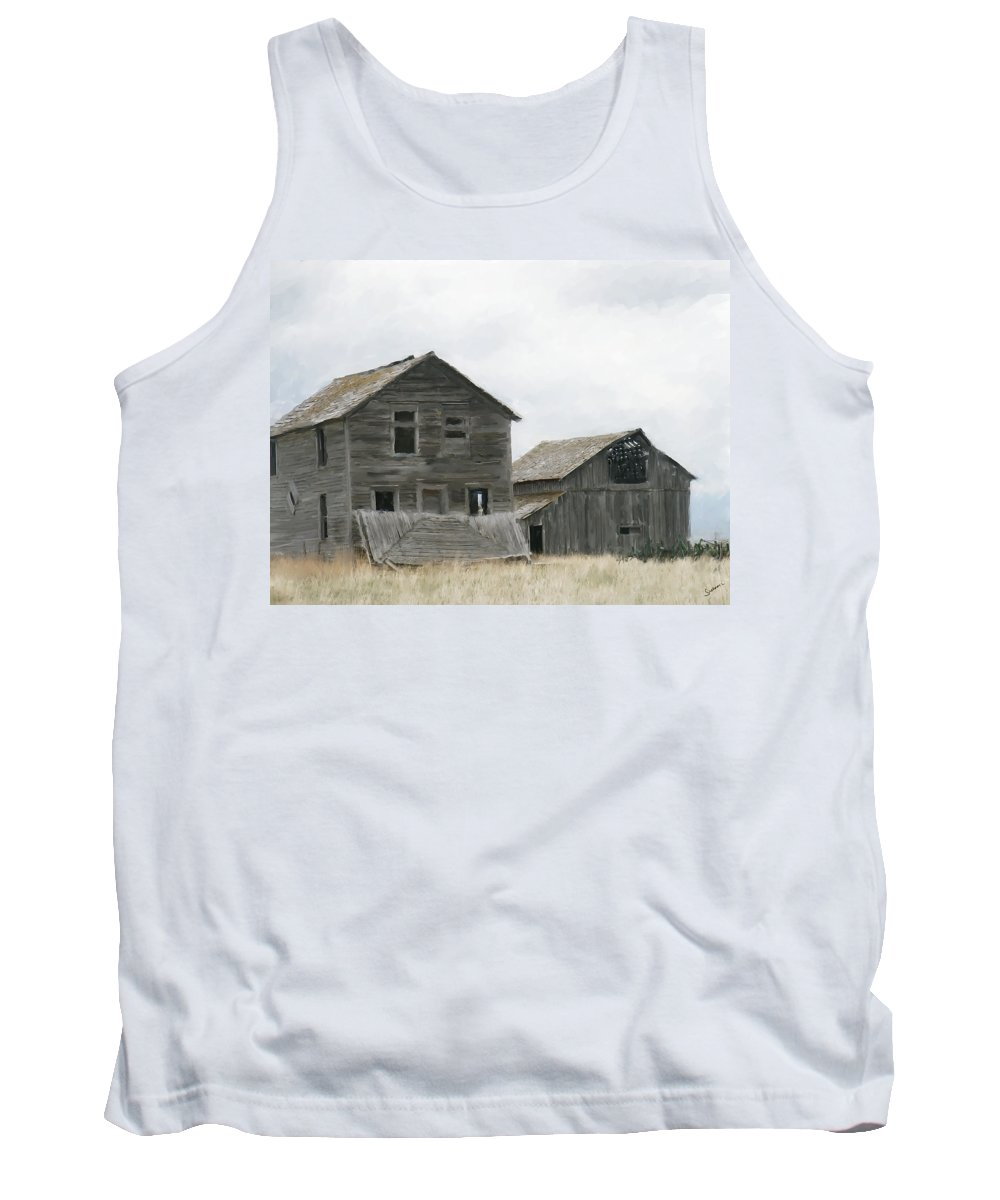 Montana Tank Top featuring the painting Montana Past by Susan Kinney