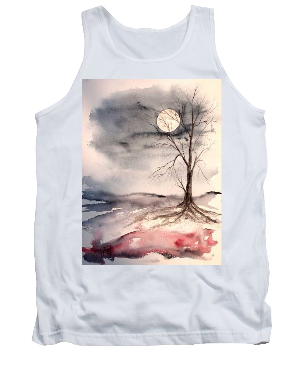 Moon Tank Top featuring the painting Moon Light by Derek Mccrea
