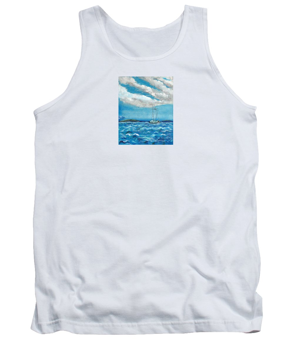 Impressionism Tank Top featuring the painting Moored In The Bay by J R Seymour