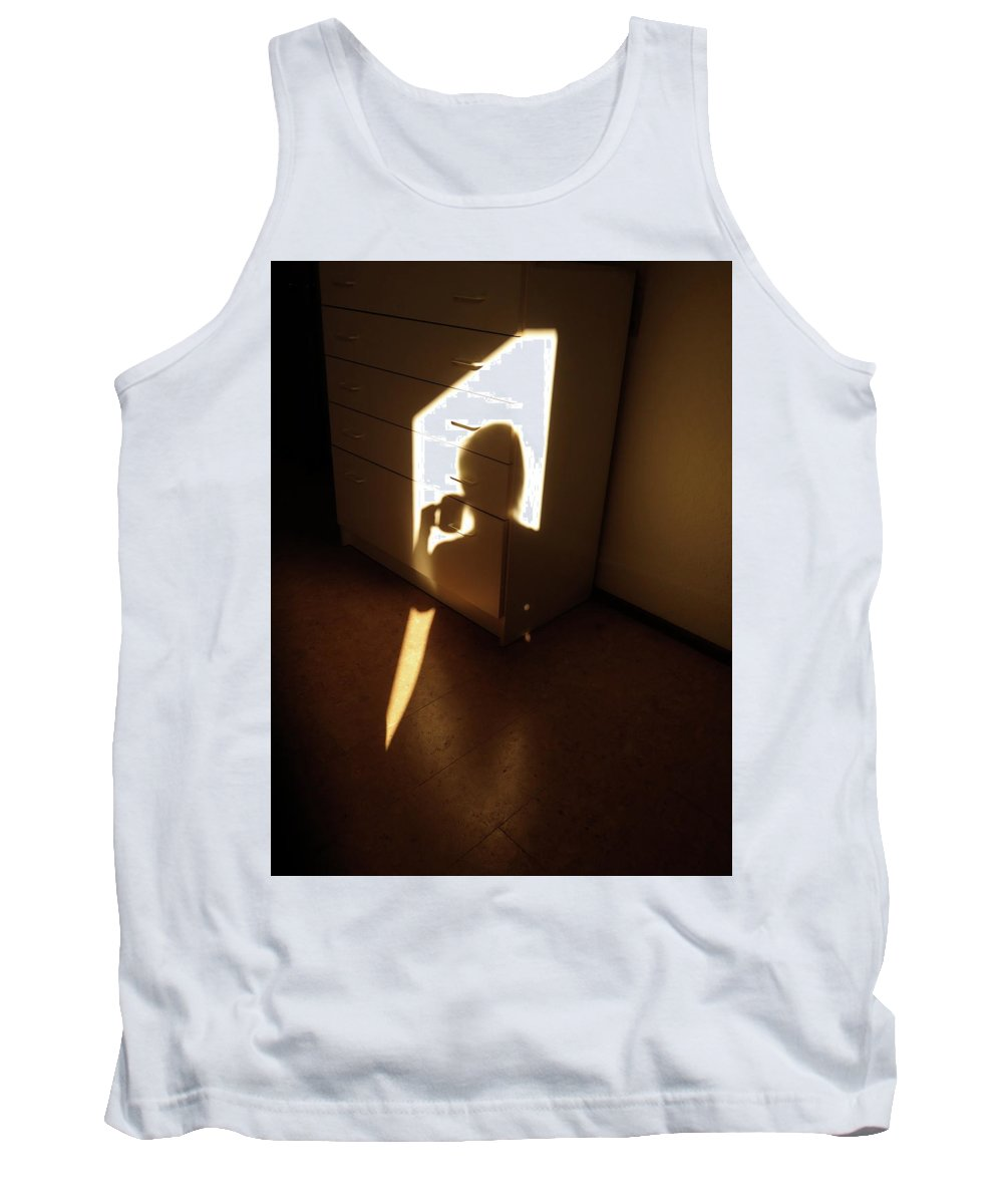 Monochrome Tank Top featuring the photograph Morning Coffee by Bonnie See