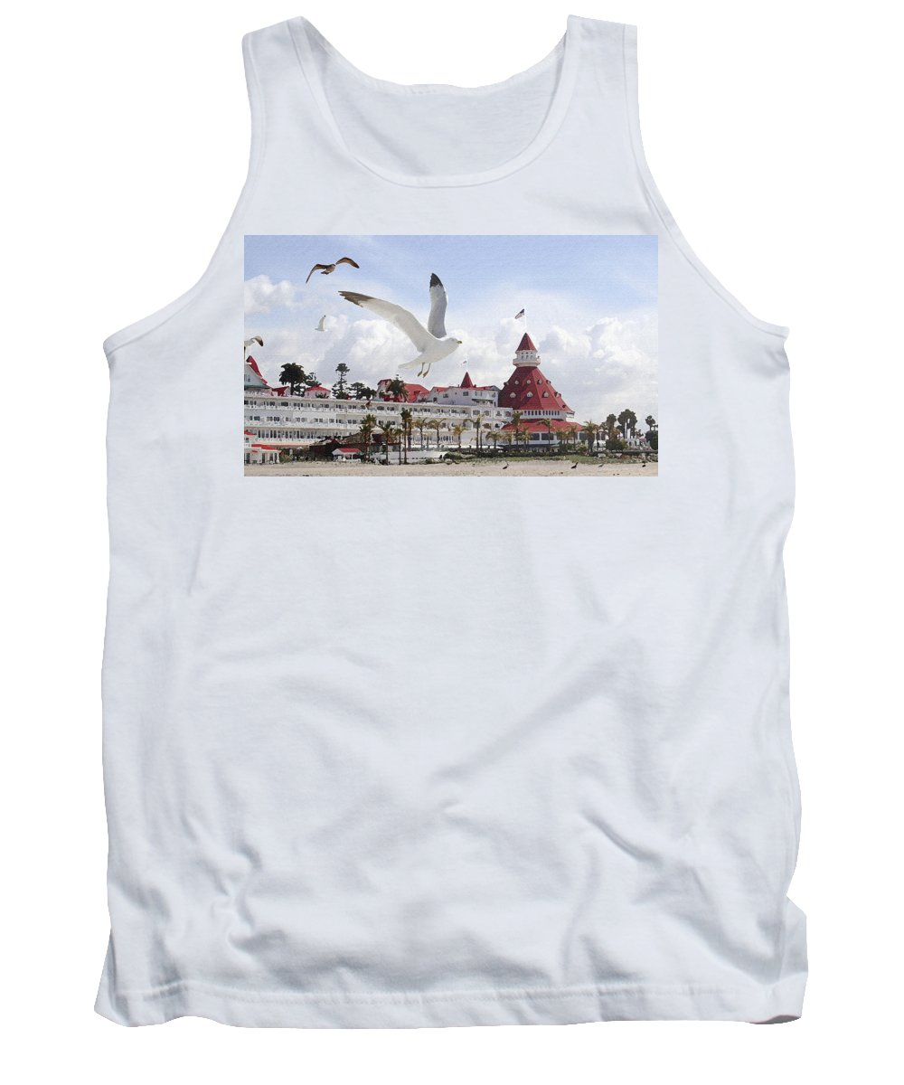 Beach Tank Top featuring the photograph Morning Gulls On Coronado by Margie Wildblood