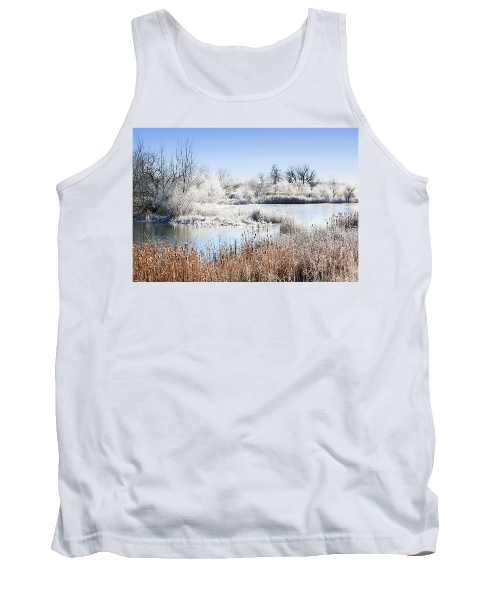 Hoar Frost Tank Top featuring the photograph Morning Hoar Frost by Marilyn Hunt