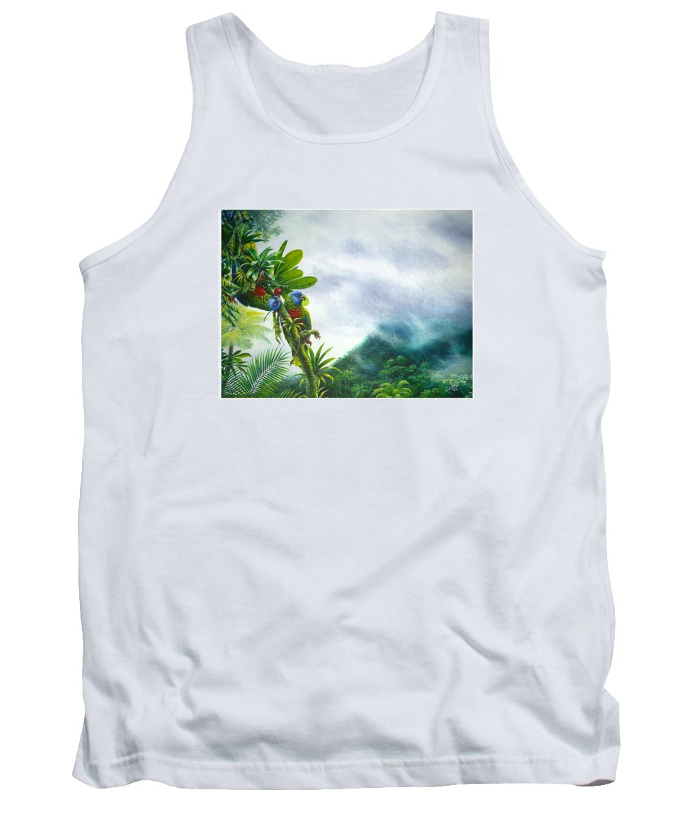 Chris Cox Tank Top featuring the painting Mountain High - St. Lucia Parrots by Christopher Cox