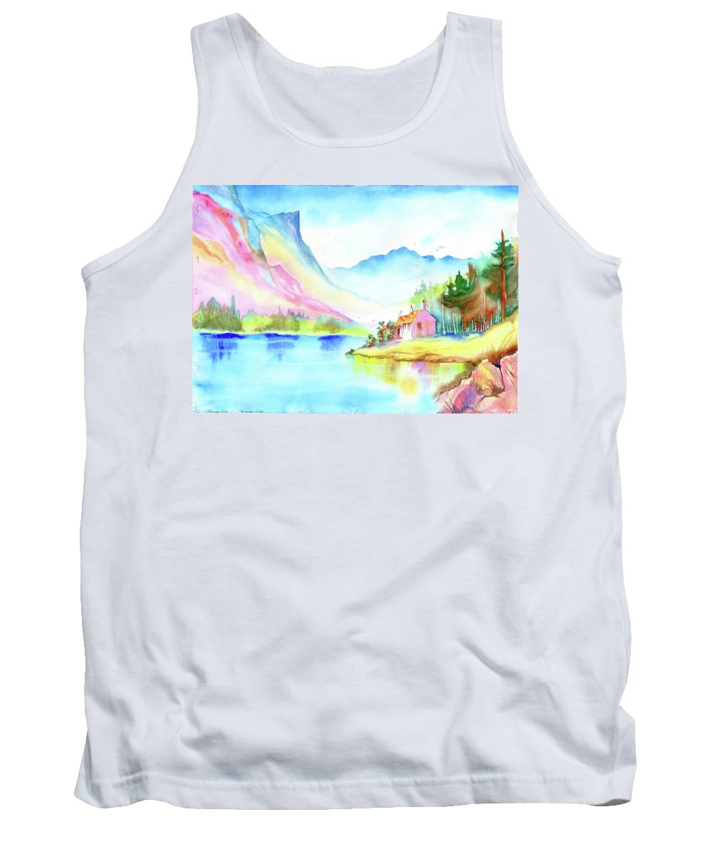 Landscape Lake Mountain Sierras Cottage Placid Serene Peaceful Meditative Nature Wilderness Rugged Outback Hiking Summer Sky Blue Pines Rocks High Sierras Luminous Brilliant Transparent Tank Top featuring the painting Mountain Lake by Xavier Francois