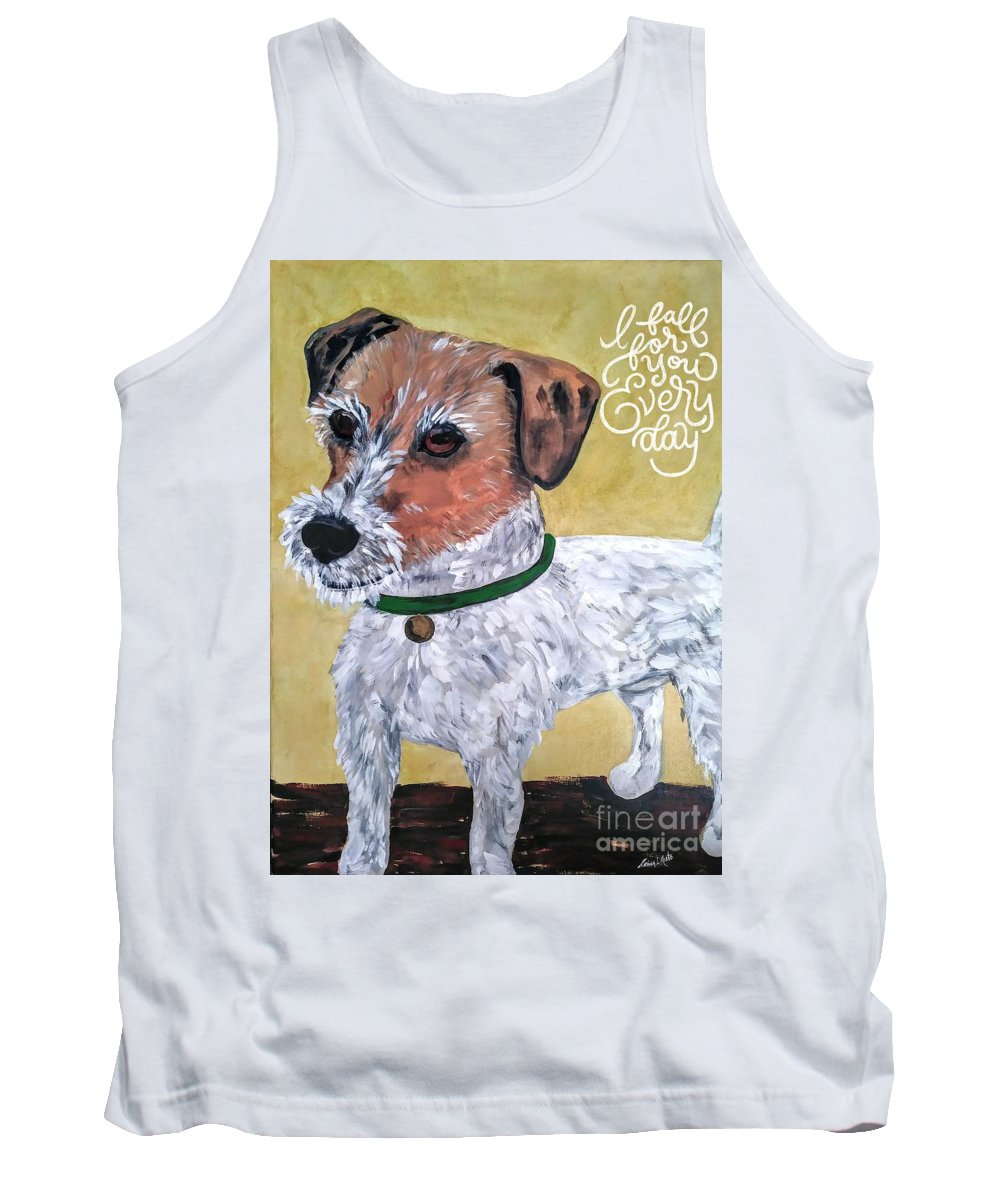 Dogs Tank Top featuring the painting Mr. R. Terrier by Reina Resto