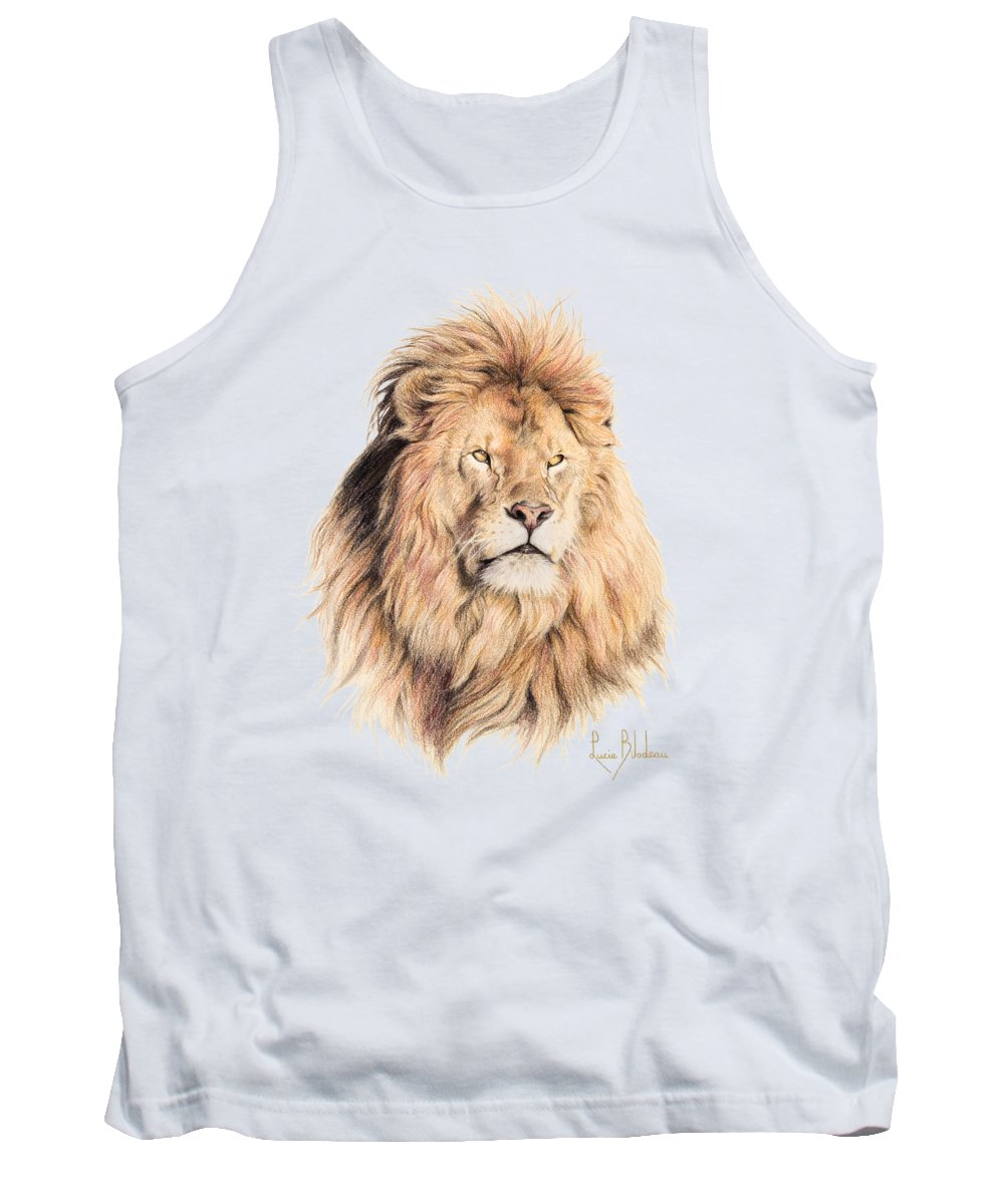 Lion Tank Top featuring the drawing Mufasa by Lucie Bilodeau