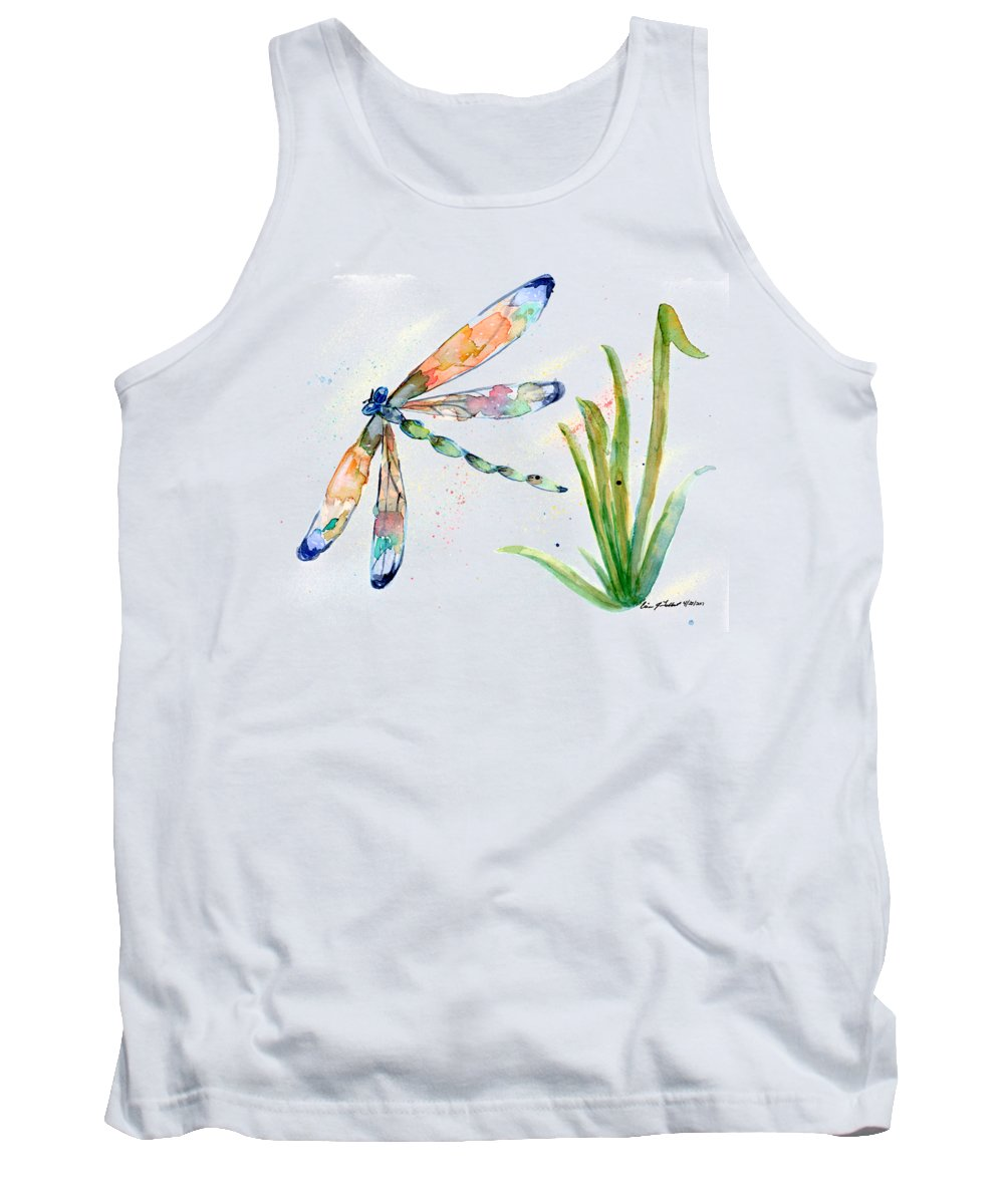 Dragonfly Tank Top featuring the painting Multi-colored Dragonfly by Erica Tolbert