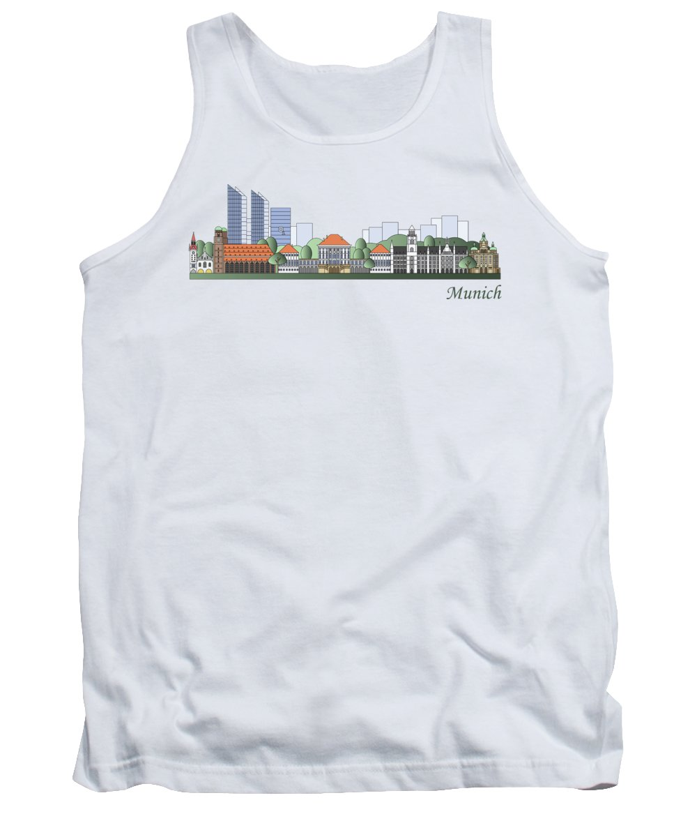Munich Tank Top featuring the painting Munich Skyline Colored by Pablo Romero
