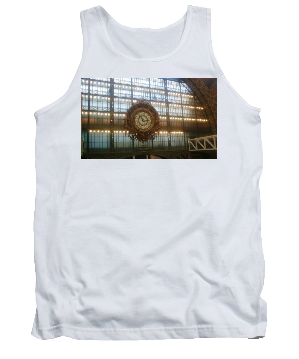 Museum Tank Top featuring the photograph Museum D'orsay Clock by Valerie Ornstein
