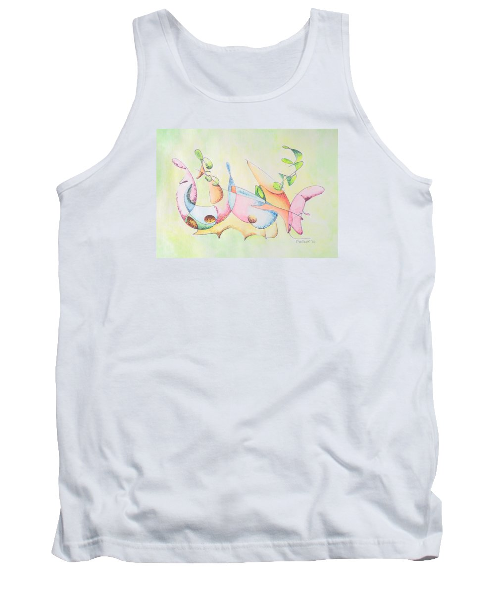 Watercolor Tank Top featuring the drawing Music by Dave Martsolf