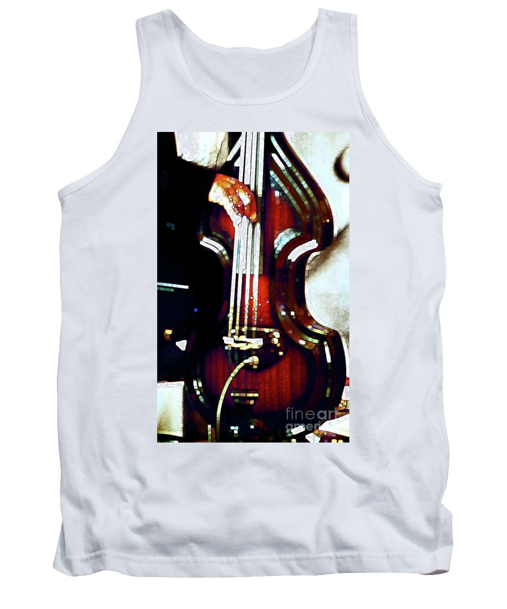 Abstract Tank Top featuring the photograph Music Man Bass Violin by Linda Parker