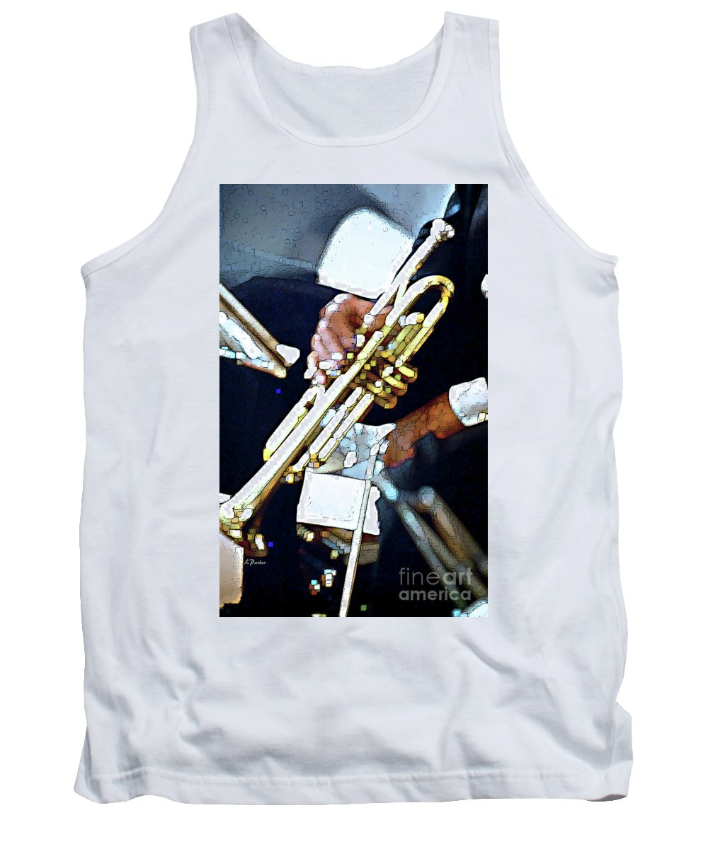 Abstract Tank Top featuring the photograph Music Man Trumpet by Linda Parker