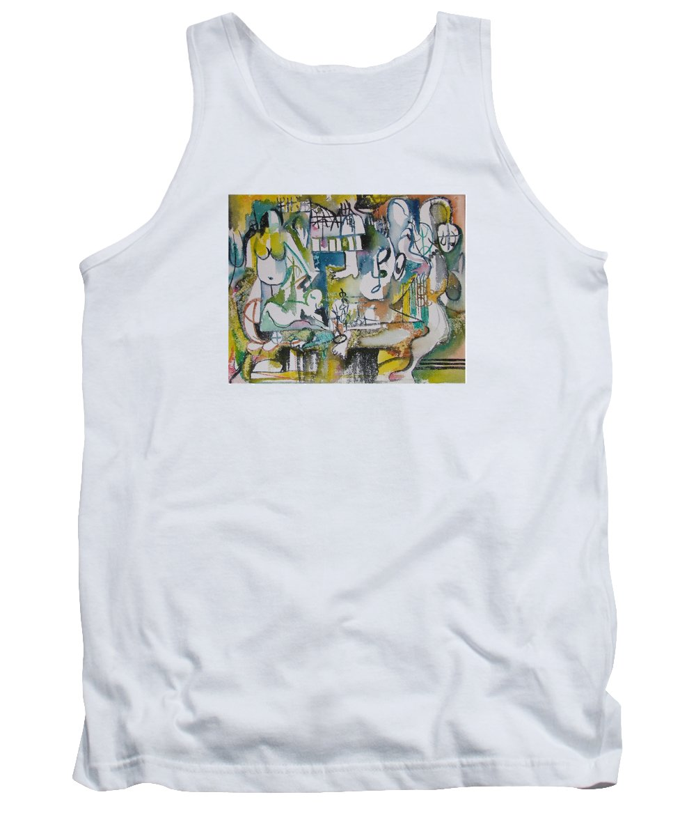 Music Tank Top featuring the painting Musical Abstraction by Rita Fetisov