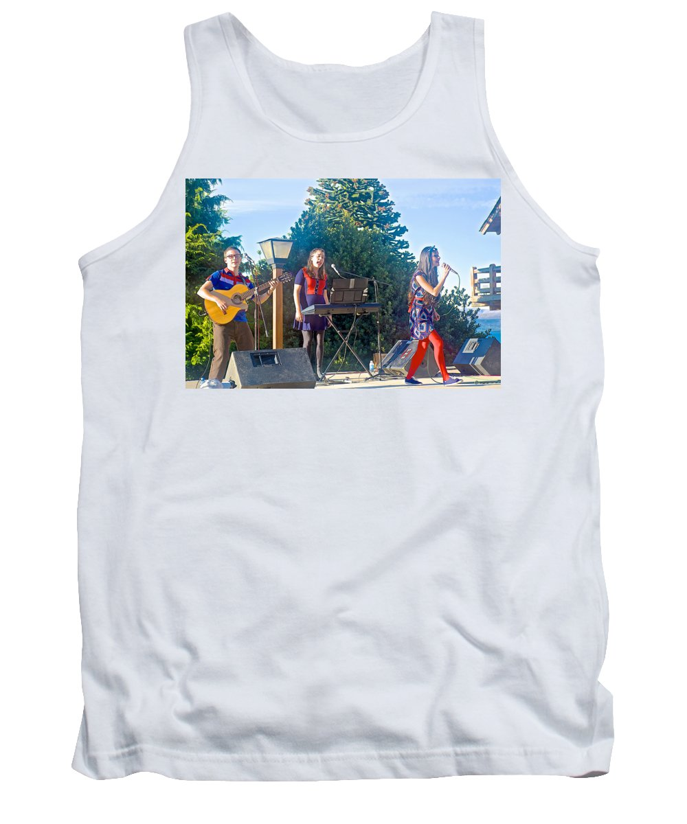 Musical Entertainers In Central Park In Bariloche Tank Top featuring the photograph Musical Entertainers In Central Park In Bariloche-argentina by Ruth Hager