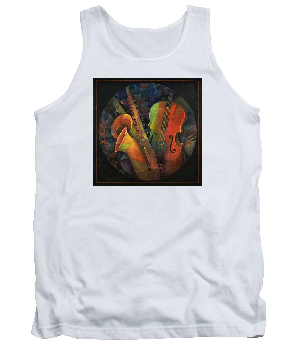 Susanne Clark Tank Top featuring the painting Musical Mandala - Features Cello And Sax's by Susanne Clark