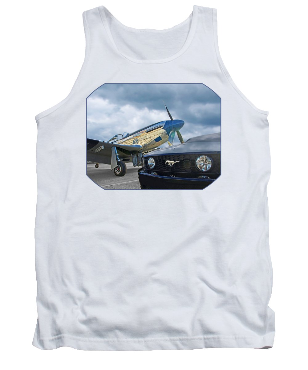 P-51 Tank Top featuring the photograph Mustang Gt With P51 by Gill Billington