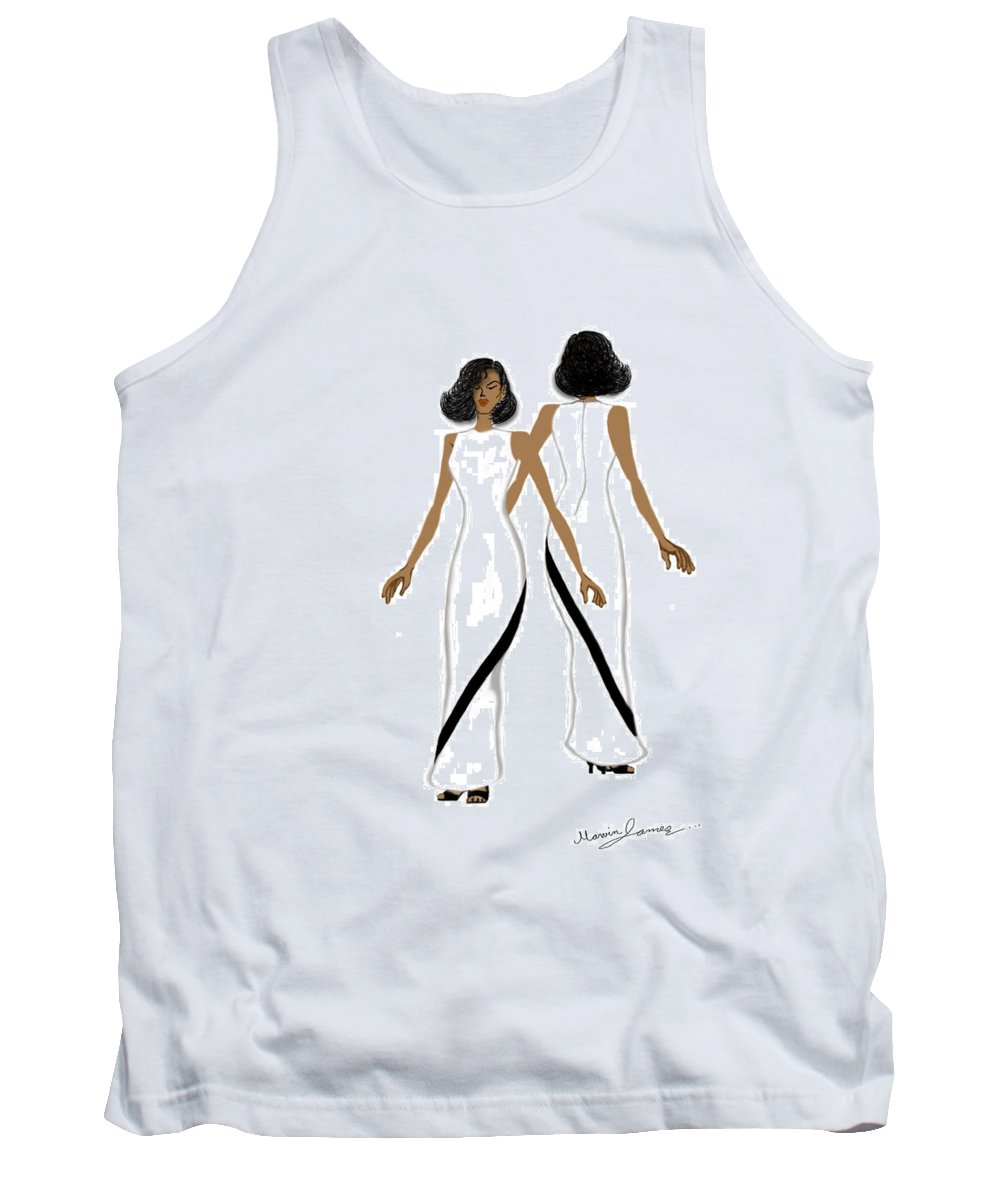 Fashion Tank Top featuring the drawing My Fashion Art-white Dress With Black Stripe by Marvin James