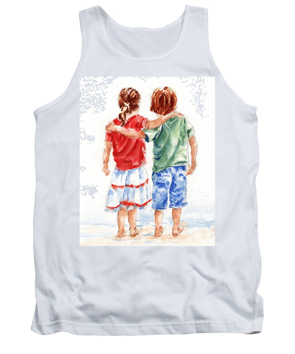 Watercolour Tank Top featuring the painting My Friend by Stephie Butler