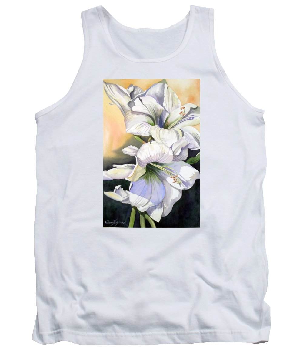 Flower Tank Top featuring the painting My Love by Tatiana Escobar