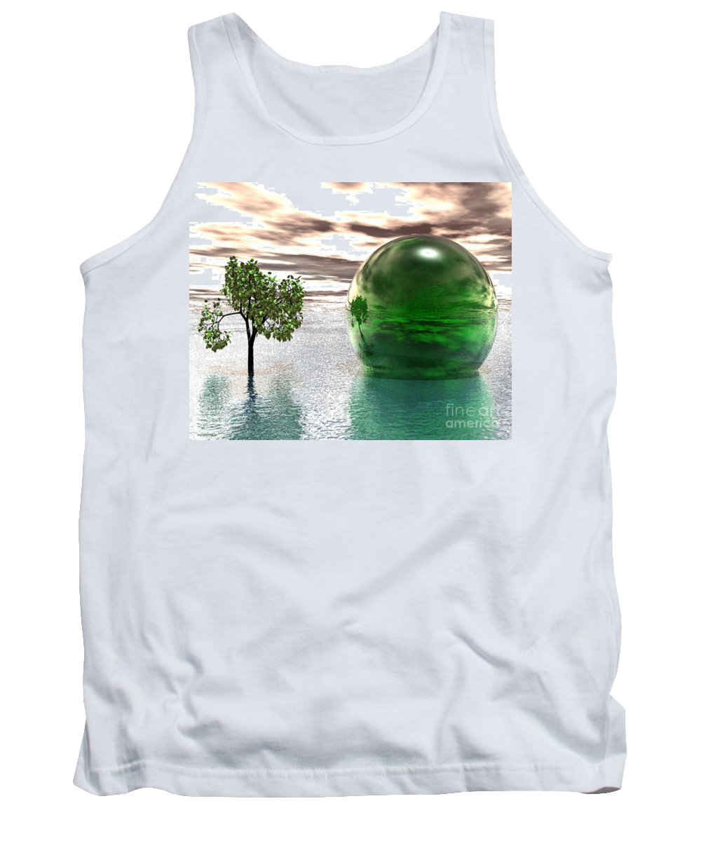 Surreal Tank Top featuring the digital art Mystic Surreal In Green by Oscar Basurto Carbonell