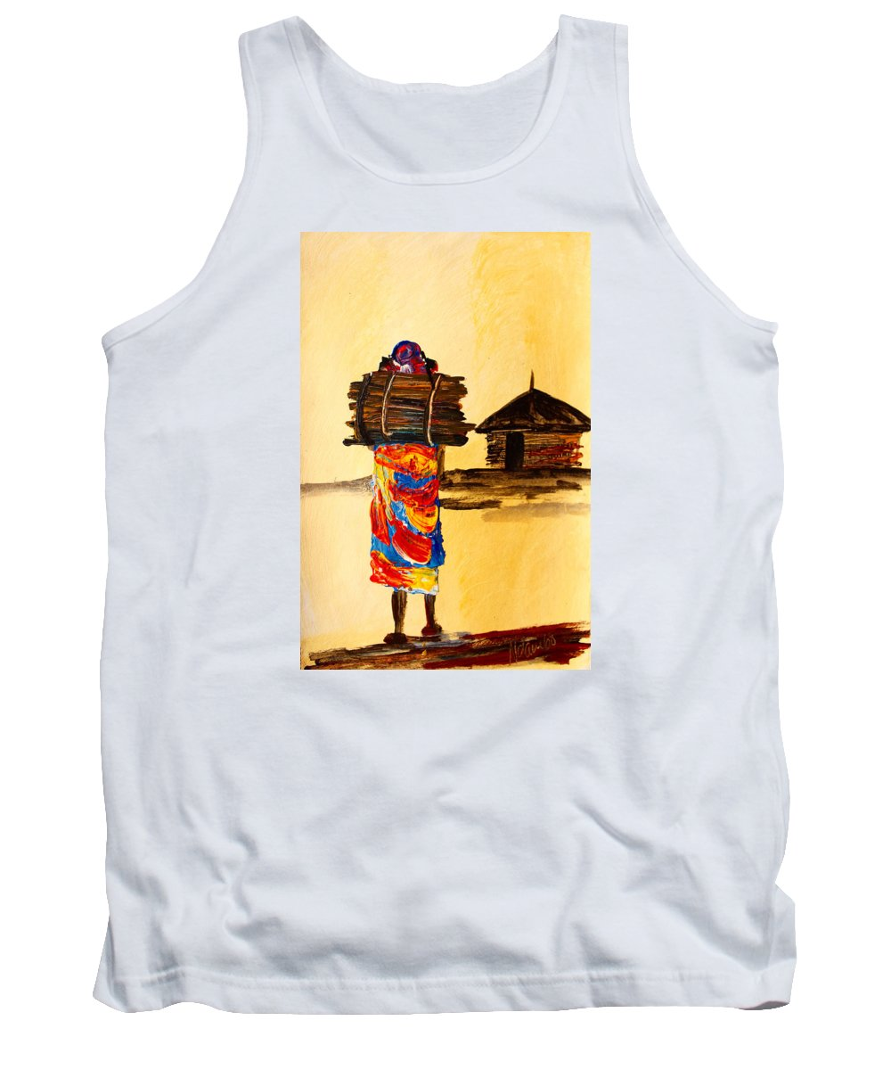 True African Art Tank Top featuring the painting N 101 by John Ndambo