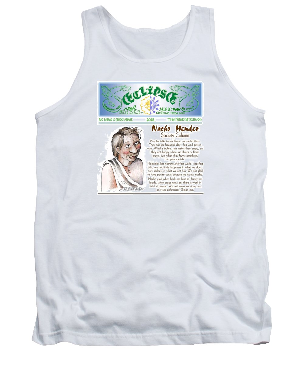 News Art Tank Top featuring the painting Real Fake News Society Column 1 by Dawn Sperry
