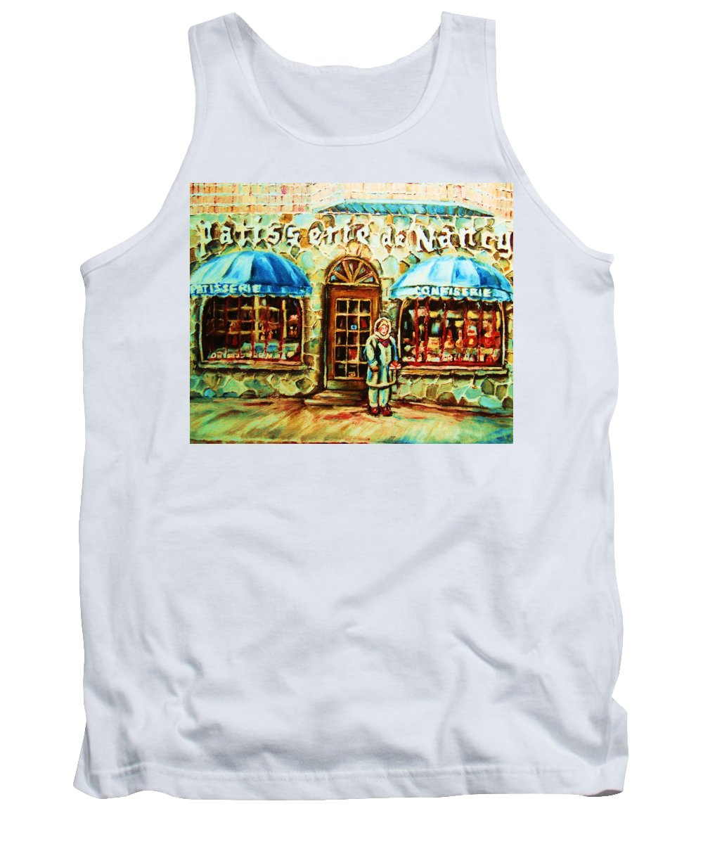 Bakery Shops Tank Top featuring the painting Nancys Fine Pastries by Carole Spandau