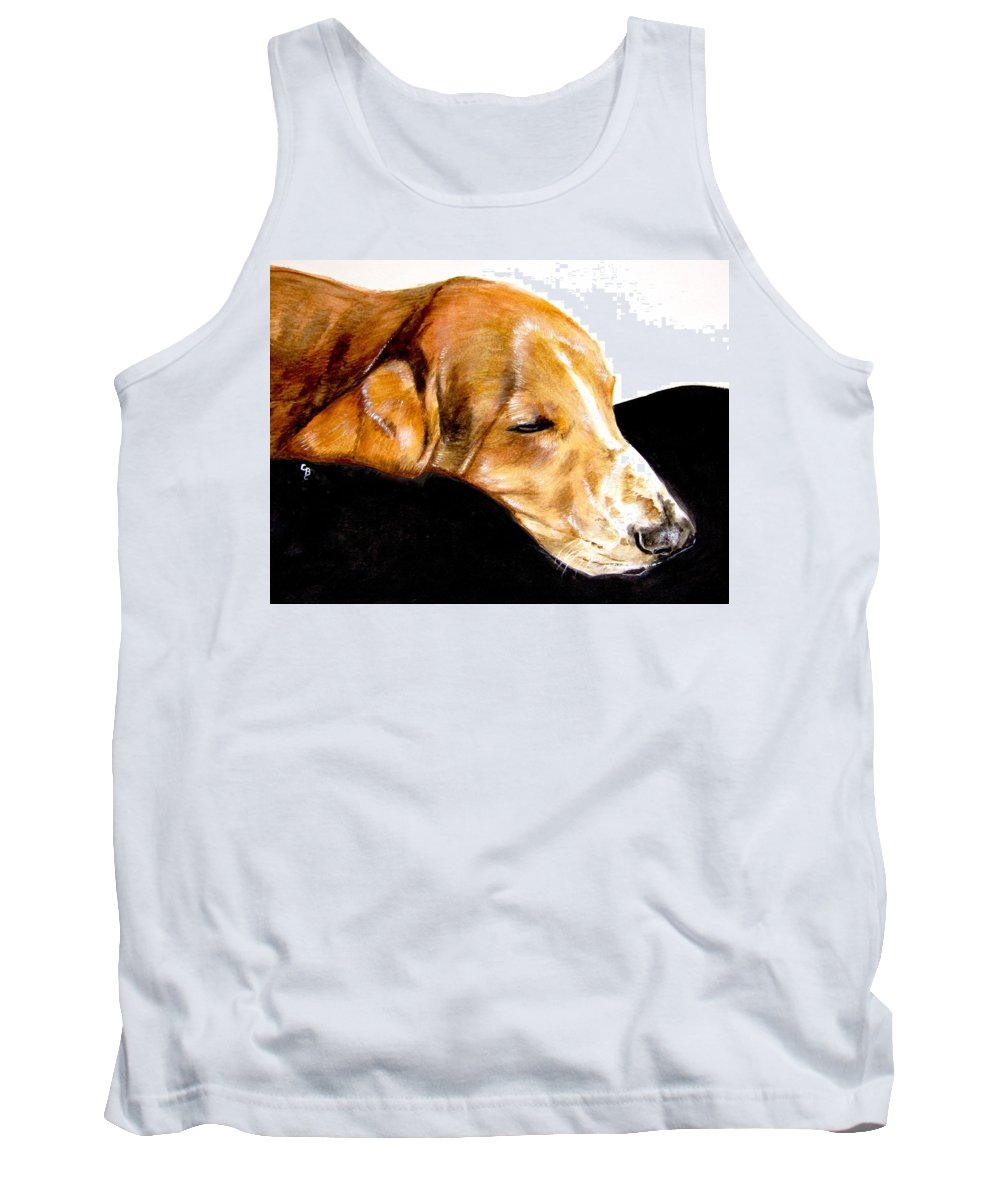 Basset Hound Painting Tank Top featuring the painting Napping Nadine by Carol Blackhurst