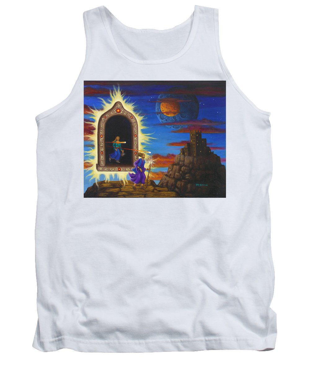 Fantasy Tank Top featuring the painting Narrow Escape by Roz Eve