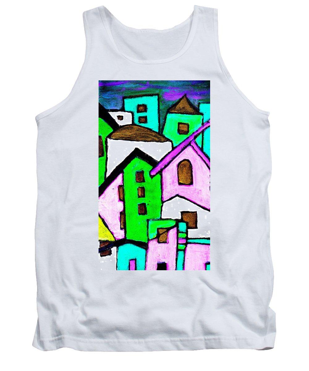 Village Tank Top featuring the painting Narrow Village by Wayne Potrafka