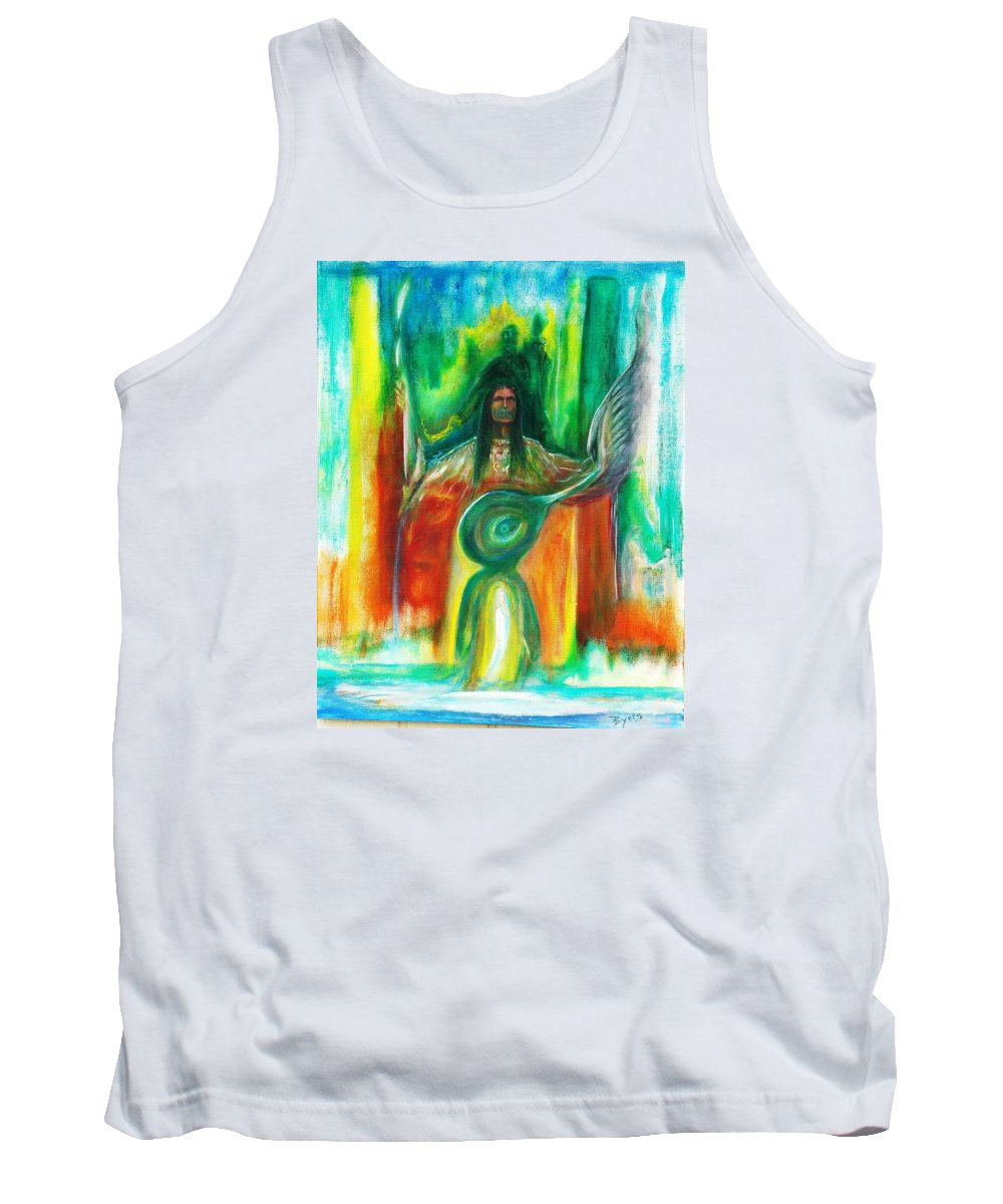Native American Tank Top featuring the painting Native Awakenings by Kicking Bear Productions