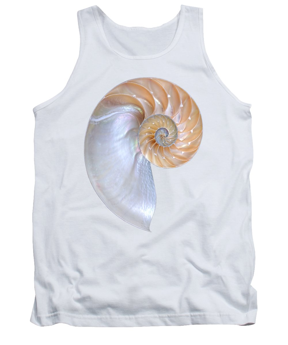 Nautilus Shell Tank Top featuring the photograph Natural Nautilus On White Vertical by Gill Billington