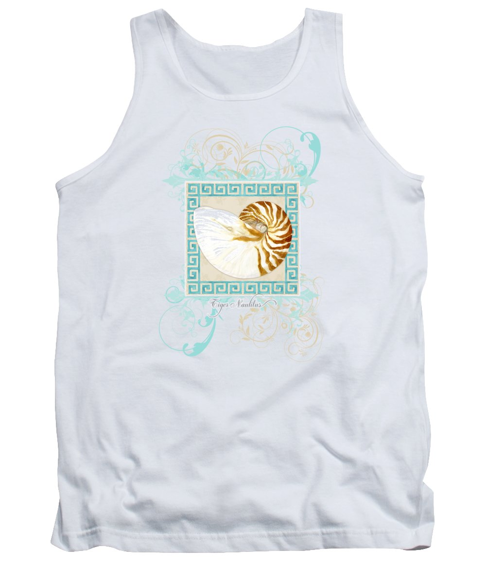 Nautilus Tank Top featuring the painting Nautilus Shell Greek Key w Swirl Flourishes by Audrey Jeanne Roberts