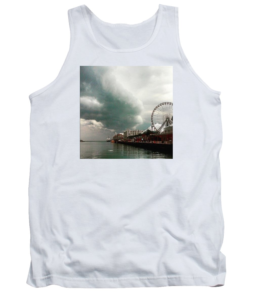 Tank Top featuring the painting Navy Pier Overcast by Jeffrey Littleton
